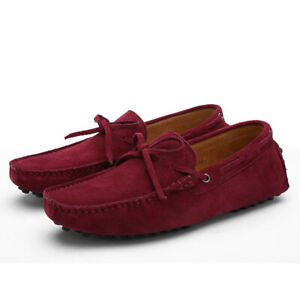 Men Bowtie Suede Slip on Loafers Driving Moccasins Gomminos Casual Shoes Plus SZ