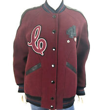 Coach Boyfriend Varsity Crimson/Black Jacket F24192 Size M Long Bomber Patch Pin