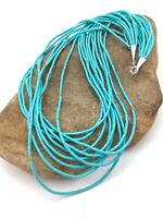 """Native American Blue Turquoise Heishi 10St Sterling Silver Necklace 20"""" 4199"""