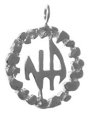Narcotics Anonymous 372-11,Sterling Silver,NA Initials in a Nugget Style Circle