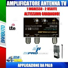 AMPLIFICATORE DA PALO ANTENNA TV 1 IN LOG/UHF - 2 OUT, 30 dB REGOLABILE LTE