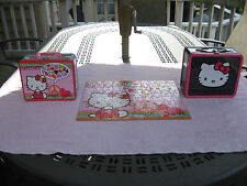 Lot Of 2 Hello Kitty Sanrio Metal Lunch Boxes & 100 Piece Jigsaw Puzzle