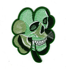 "4"" Lucky 4 leaf Clover Skull Patch, Irish Biker iron on  embroidered patches"