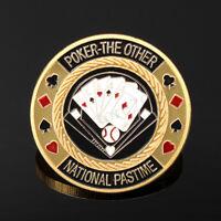 TEXAS Poker Card Guard Cover Protector Holder Casino Token Coin Chips Gold  ! _