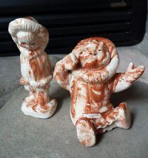 VTG Juanita Ware Ohio Native Eskimo Pottery Figures Marbled Swirled Alaska Inuit