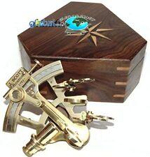 "Antique Brass Navigation Instrument Sextant /4"" Brass Nautical Marine W/Box"