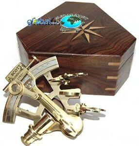 "Vintage Brass Navigation Instrument Sextant /4"" Brass Nautical Marine W/Box"