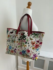 AUTHENTIC GUCCI Floral Canvas with Red Detail Large Tote Shoulder Bag