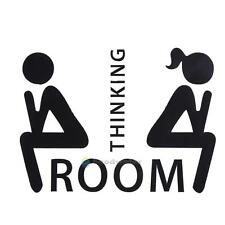 BW#A Thinking Room Toilet Paste Wc Door Sign Removable Toilet Wall Stickers DIY