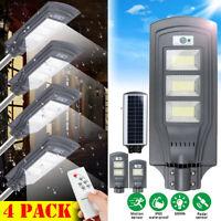 4PCS 680W 68000LM LED Solar Street Light PIR Motion Sensor Floodlamp+Remote Lot