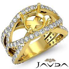 Diamond Engagement Ring 1.2Ct Round Semi Mount Halo Pave Set 14k Yellow Gold