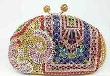 Gold ~Multi-Color~ Elephant Pattern Handmade  Crystal~Bridal Evening Clutch Bag