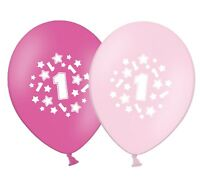 "number 1 - stars -  12""  Pink Assortment Latex Balloons pack of 25"