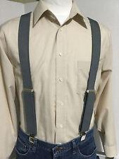 "New, Men's,  Medium Gray XL Adj. 1.5""  Suspenders / Braces,  Made in the USA"