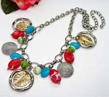 Fun! CHICO'S Silvertone Pink Green & Blue Beads Palm Pendant Dangles Necklace!