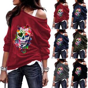 Halloween Women Skull Printed Long Sleeve T Shirt Tops Casual Loose Tee Blouse