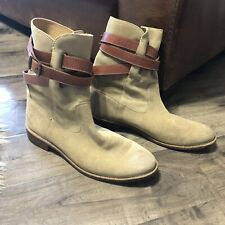 Frye Shirley Strappy Short Tan Suede Leather Low Heel Boots  - Size 10