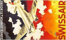 1950s Swiss Air Zurich to London 3 1/2 Hrs Travel Poster 13 x 19 Giclee Print