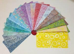 "40 x Batik Fabric Quilting Sewing Layer Cakes 10"" x 10"" Squares Jellybean Gelato"
