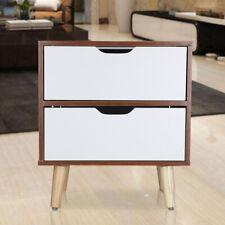 2 Drawer Scandinavian Wooden Bedside Table Cabinet Bedroom Storage Nightstand