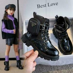 Kids Girls Punk Goth Lace Up Zip Boots Lined Shoes Pocket  Ankle Shoes Size