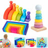 7 Colors Wooden Rainbow Building Stacking Blocks Child Kids Educational DIY Toys