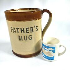 """Vintage HUGE: FATHER'S MUG gigantic coffee cup 9"""" INCHES HIGH Moira Pottery U.K."""