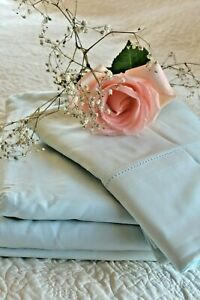 Soft Surroundings Blissful Bamboo Sheet Set Sky Blue Queen Orig. $199