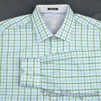 BUGATCHI White Blue Green Check 100% Cotton Casual Dress Shirt NWT - LARGE