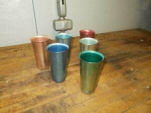 Aluminum Colorful Tumblers Cups Vintage MCM - Lot of 6 Italy