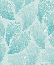 TEAL FAN ROOM PATTERN QUALITY STYLISH  FEATURE TEXTURED WALLPAPER 319729 RASCH