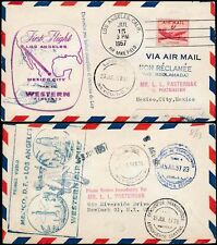 AIRMAIL FIRST FLIGHT LA to MEXICO 1957 + RETURN WESTERN AIRLINES