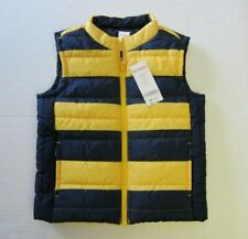 Gymboree Vest 2T - 3T Yellow Blue Stripe Puffer Zip Front Boy NEW