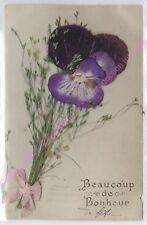 CPA FANTAISIE DECOUPIS ruban rose Beaucoup de bonheur Pensée violette herbe