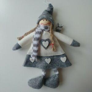 WINTER GIRL Christmas tree decoration or TOPPER grey & white SKIRT NEW