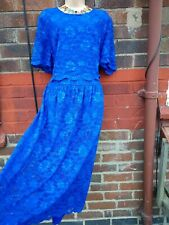 cobalt blue lace midi tea dress size 24 wedding occasion layer flare  immaculate