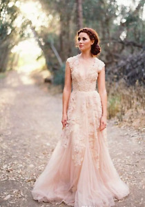New Arrival Champagne Lace wedding dress, UK tailor made, all sizes