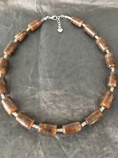 Handmade Glass Bead And Tibetan Necklace In Brown