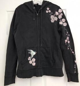 Lucky Brand Sweatshirt Hoodie Embroidered Beaded Floral Sweatshirt Black LARGE