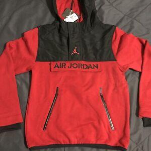 Jordan Nike Big Boy's Flight Pullover Therma Fit Hoodie (M) Red Black Bred Retro