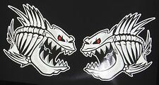 """(2) Skeleton Fish Vinyl Decals for Boat Car Truck 11.5"""" x 12"""" 3m REFLECTIVE"""