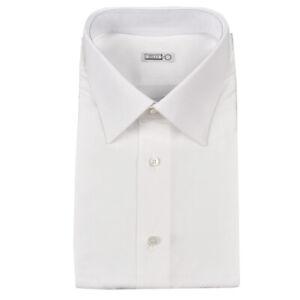 $550 NIB ZILLI Italy White Nailhead Cotton Spread Collar Dress Shirt 18 1//2 47