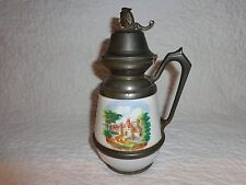 19th.c White Enamel Figural Head Graniteware Syrup Jug, Pewter Lid/Trim, Antique