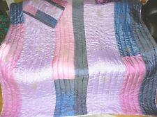GIRLS FULL QUEEN QUILT BEDDING pillowcase & satin sheet purple pink BACATI