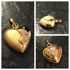Herzanhänger mattiert glänzend Brillanten Goldanhänger 333er Gold Anhänger Herz
