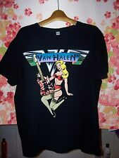 "men's sz L 44"" rare Van Halen 2009 Guitar Hero tour shirt busty blonde stockings"