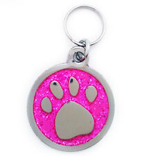 Engraved Pet Tag PINK PAW LARGE - Free Name & Phone number engraved on tag