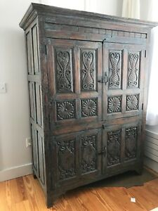 Antique Armoire Cabinet Carved Wood Blue/Green