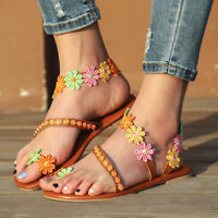 Womens Flat Sandals Flower Rhinestone Flip Flops Summer Casual Gladiator Shoes
