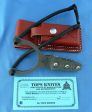 TOPS Tops Sling Slingshot Micarta Handle 1095 Carbon Steel Leather Sheath USA